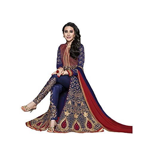 Ustaad Womens Blue Georgette Bollywood Wedding Indian Anarkali Dress Material