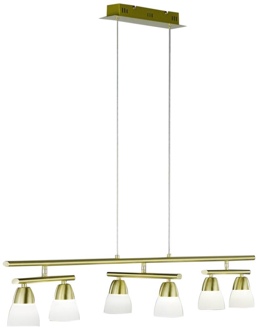 Trio Leuchten LED Pendelleuchte in Messing matt, inklusiv 6x5W LED 3000K 400 Lumen , Breite: 115 cm, Höhe: 150 cm, glas weiß 321590608
