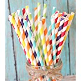Charmed Rainbow stripe paper straw set of 150 straws with all the color of the rainbow! (Color: Multicolor, Tamaño: 1-Pack)
