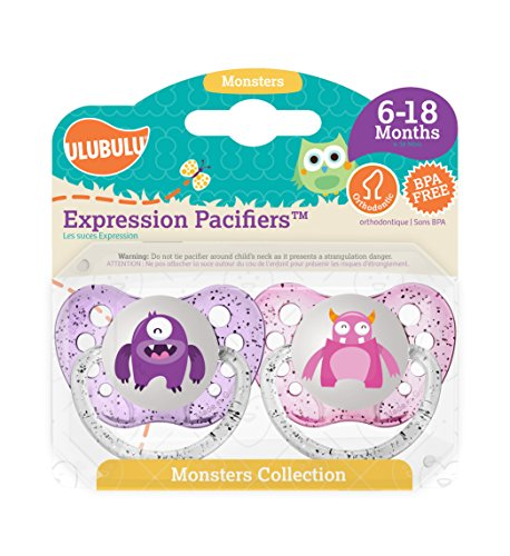Ulubulu Pacifiers for Girls, Purple and Light Pink Monster, 6-18 months