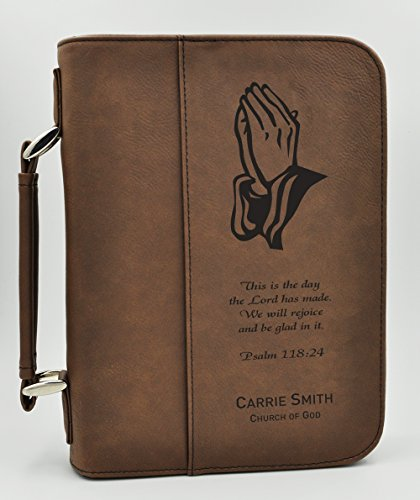 Custom Bible Cover | Praying hands Psalms Scripture | Personalized Bible Cover | Confirmation Gift | First Communion Gift (Dark Brown) (Personalized Scripture compare prices)