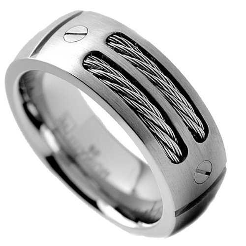 8mm s titanium ring wedding band with stainless steel