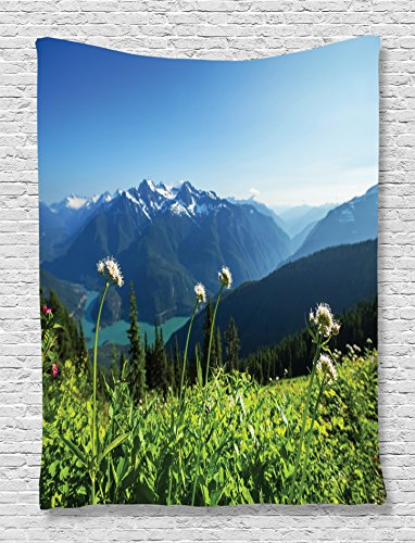 Ambesonne Scenery Decor Collection, Lake and Snowy Mountains View Dandelions Thistle Flowers Sky Print, Bedroom Living Kids Girls Boys Room Dorm Accessories Wall Hanging Tapestry, White Blue Green
