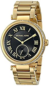 Michael Kors MK5989 - Men Mid-Size Gold Tone and Black Dial Skylar Two-Hand Glitz Watch