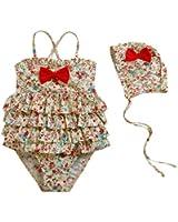 Vivobiniya Kid Girls One-piece Swimsuits and Cap Flower Swimwears 4-9t