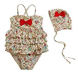 Vivo-biniya Baby Girl\'s 2pcs/swimsuits One-piece Swimwear and Cap Flower 4-9t (5T)
