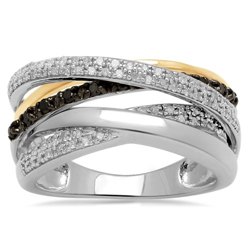 18K Gold Plated Sterling Silver Black and White Diamond Orbit Ring (1/3 cttw, I-J Color, I2-I3 Clarity), Size 7