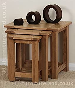 Newark Solid Oak Nest Of Tables       reviews and more information