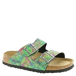 Birkenstock Women\'s Arizona Soft Footbed 37 Narrow Tropical Leaf Grn BF