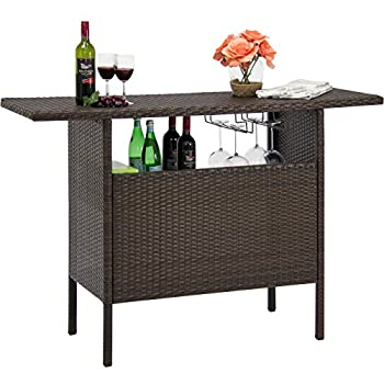 Best Choice Products Outdoor Patio Wicker Bar Counter Table w/2 Steel Shelves, 2 Sets of Rails - Brown