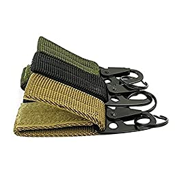 OWNLY Nylon Tactical Gear Clip Web Standard Key Ring Holder Tactical Key Chain Quick Release Key ring Compatible With Molle Bags for Outdoor Activities (Pack of 6)