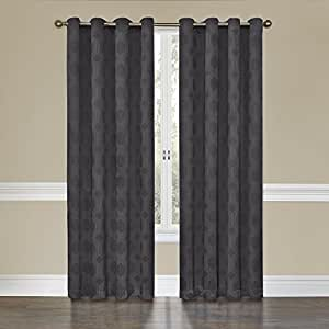Eclipse Tatum Grommet Blackout Curtain Panel 84 Inch Smoke Home Kitchen