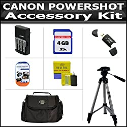 Accessory Kit For CANON POWERSHOT SX20 IS SX20 SX1 IS SX150IS SX150 IS Digital Camera Includes 4GB Secure Digital High Capacity (SDHC) Card Class + Carrying Case + AA Battery Charger Set + Card Reader + LCD Screen Protector + 52 Inch Tripod + More