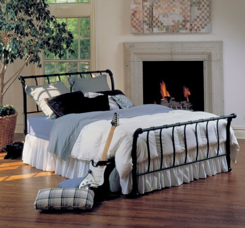 hillsdale furniture bqr janis metal sleigh bed set  rails queen textured black