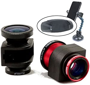 Olloclip 3-in-1 Fisheye, Macro, Wide Angle Lens Kit For the Apple iPhone 5 (Red) and a iPhone Tripod adapter with 1/4x20 Standard Tripod Thread