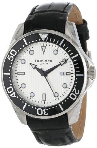 Rudiger Men's R2000-04-001L Chemnitz Black IP Rotating Bezel Silver Luminous Dial Watch