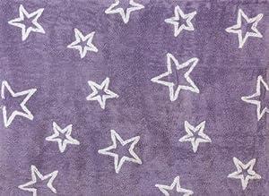 Aratextil. Alfombra Infantil 100% Algodón lavable en lavadora Colección Estrella lila 120x160 cms por Aratextil Hogar 26 S.L.