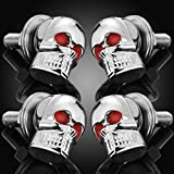 4x 6mm Chrome Skull Red Gem Eye License Plate Lic Tag Frame Windshield Trim Bolts Screws Fantastic Replacement Universal Fit Hotrods Trailer