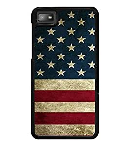 PrintDhaba US Flag D-2315 Back Case Cover for BLACKBERRY Z10 (Multi-Coloured)