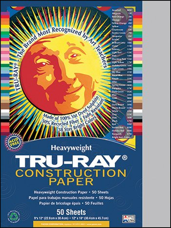 Pacon 103027 - Tru-Ray Construction Paper, 76 lbs., 9 x 12, Gray, 50 Sheets/Pack-PAC103027 - 1