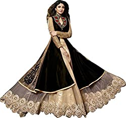 VH Fashion Shilpa Shetty Attractive Black And Cream Neck Embroidered Long Sarara Style Suit With Designer Back With Side Zari Work