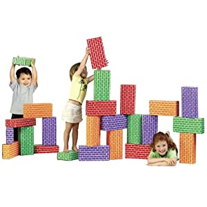 Image: Imagibricks Rainbow Blocks 24 Pc - These extra large cardboard brick blocks provide the opportunity to build large, life-like structures.