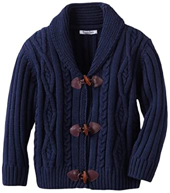 Kitestrings Boys 2-7 Cable Knit Toggle Front Roll Neck Collar Cardigan, Peacoat Navy, 4