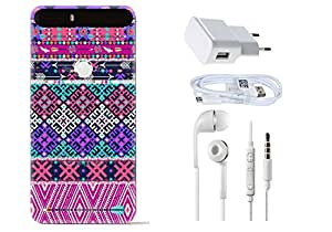 Spygen HUAWEI GOOGLE Nexus 6 Plus Case Combo of Premium Quality Designer Printed 3D Lightweight Slim Matte Finish Hard Case Back Cover + Charger Adapter + High Speed Data Cable + Premium Quality Handfree