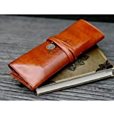 New Fashion Twilight Retro Style Bandage Leather Pen Bag Pencil Case Makeup Cosmetic Pouch