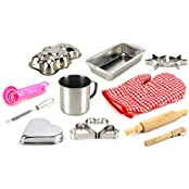 My Little Kitchen Chef Complete 14 Piece Metal Toy Kitchenware Play Set W/ Variety Of Accessories