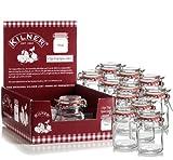Set Of 6 New Kilner Vintage Square Glass Clip Top Airtight Spice Herb Storage Jam Jars