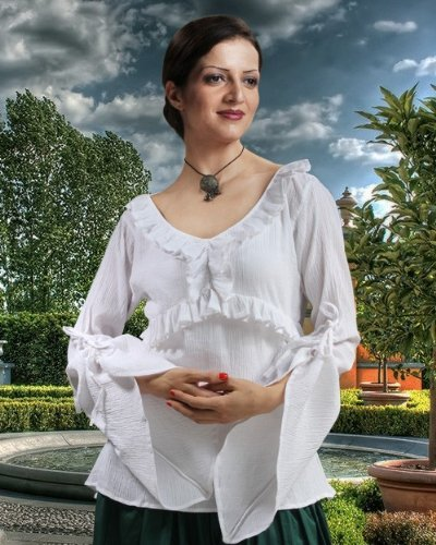 ThePirateDressing Pirate Wench Peasant Renaissance Medieval Costume Blouse - Sybbyl Cotton Blouse (Small)