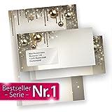 Briefpapier Weihnachten Set NOBLESSE (250 Sets mit Fenster) elegantes Design-Weihnachtsbriefpapier DIN A4 - mit Fensterumschlägen