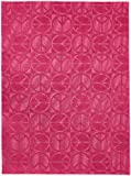 Garland Rug Large Peace Area Rug, 5-Feet by 7-Feet, Pink