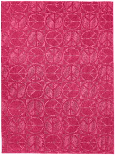 Garland Rug Large Peace Area Rug, 5-Feet By 7-Feet, Pink front-560757