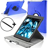 Forefront Cases Leather Rotating Cover/Stand Case with Magnetic Auto Sleep Wake Function and Stylus Pen for 7 inch Amazon Kindle Fire HDX 2013 - Blue