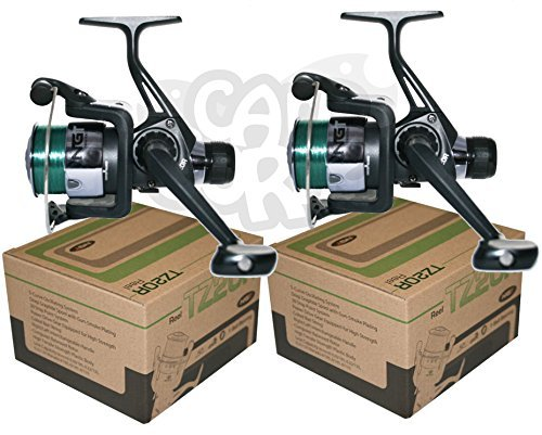 2x-tr20r-black-fishing-reels-loaded-with-6lb-line-for-coarse-match-lake-river