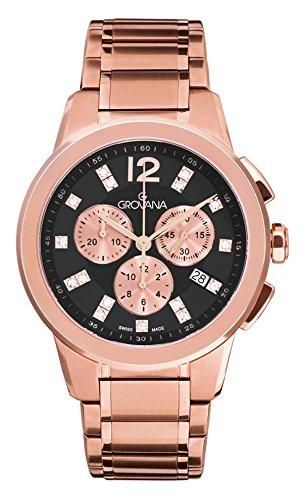 Grovana-Orologio Unisex al quarzo, con Display con cronografo da uomo in acciaio INOX placcato in oro rosa, 2094,9267