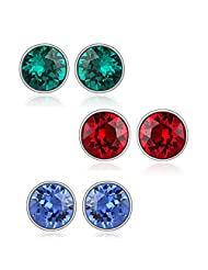 6 Mm Swarovski Elements Studs Combo - Blue Green & Red Earrings By Mahi CO1104178R6mm