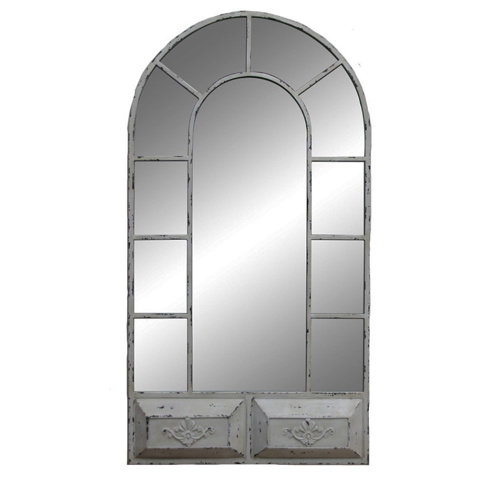Sagebrook Home White Vintage Window Mirrored 0