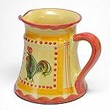 ポルトガル製 陶器 ピッチャー ルースター柄 手描き にわとり 水差し 黄色 pfa-33rs