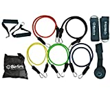 Resistance Bands Set, Professional Grade Snapless Bands, Includes Door Anchor, Foam Handles, 2 Ankle Straps, Carrying Case, and Exercise Instruction Chart, for Fitness, and Crossfit.