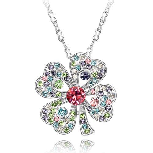 MARENJA-Cristal-Regalos-Navidad-Collares-Mujer-Flor-Trebol-Chapado-en-Oro-Blanco-Cristal-Multicolor-425cm-Ajustable