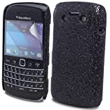 JJOnline Black BlackBerry Bold 9790 Glitter Mobile Phone Case Covers / Ultra Clear Screen Film Protector and Polishing Cloth