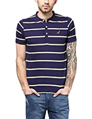 American Crew Men's Striped Henley Half Sleeves T-Shirt (Navy Blue & Light Green)