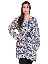 KASHANA Viscose Georgette Multi Coloured Floral Printed Plus Size Summer Boho Tunic Dress for Women Girls Ladies