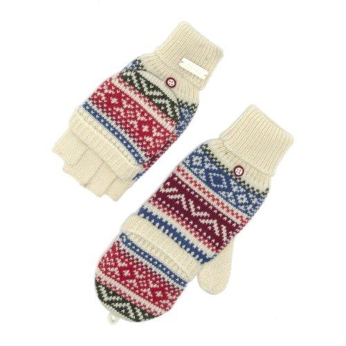 Animal Ladies Fingerless Mittens Gloves - Stamp White Swan Print