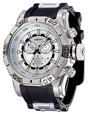 COCOTINA Men Luxury Sport Business Stainless Bullet Band Hip Pop Bling Quartz Watch (Black & Silver)