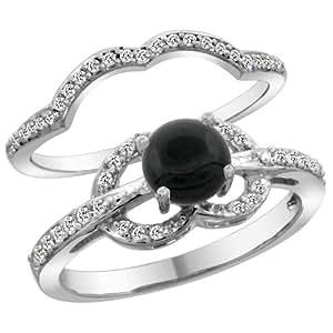 14K White Gold Natural Black Onyx 2 Piece Engagement Ring Set Round 6mm Sizes 5