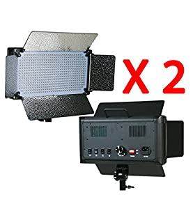 ePhotoInc 2 x 500 LED Light Panels Photography Video Studio Lighting Panel with Filters and Dimmer Switch 500SDx2